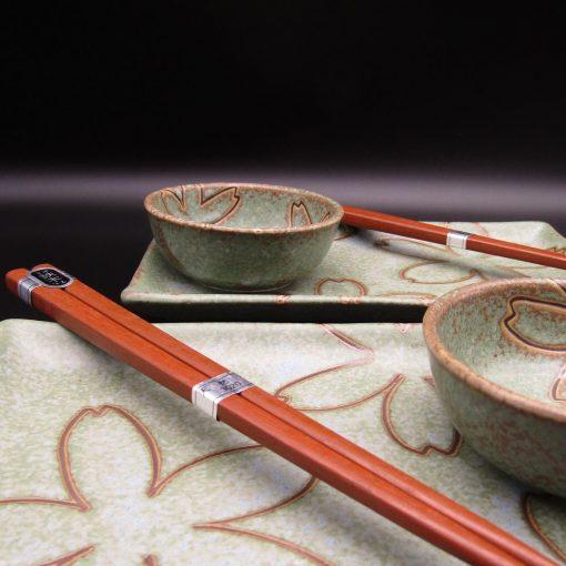 Set da sushi per 2 verde con fiori stilizzati